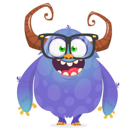 Cool cartoon alien. Purple bizzarre colorful alien monster for Halloween. Vector illustration of monster in eyeglasses