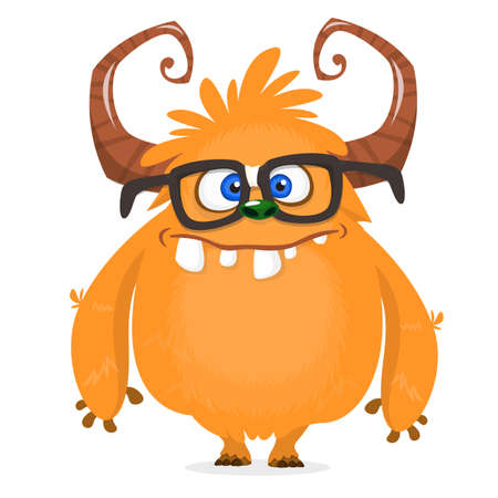 Nerdy happy cartoon monster character wearing eyeglasses. Halloween vector orange and horned monster. Design for emblem or sticker