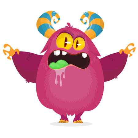 Angry cartoon monster character. Vector illustration