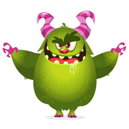 Angry cartoon monster. Halloween vector illustration. 向量圖像