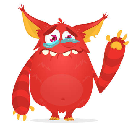 Crying cute monster cartoon. Red monster character. Vector illustration for Halloween Ilustração