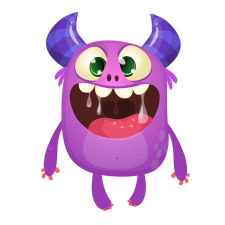 Funny cute cartoon monster character. Vector illustration or purple monster. Halloween design