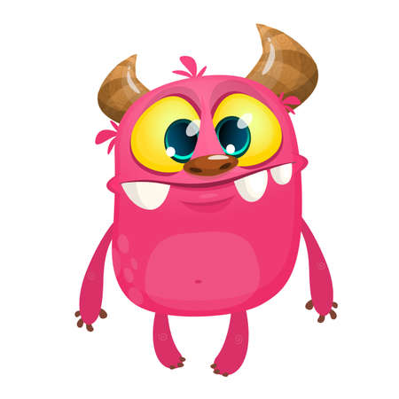 Cartoon pink horned monster. Vector illustration isolated Ilustrace