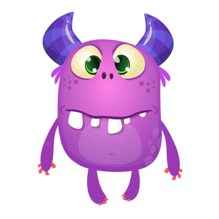 Funny silly cartoon monster character. Vector illustration or purple monster. Halloween design