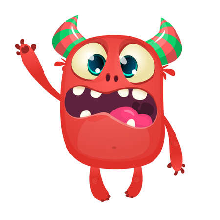 Cartoon red horned tiny devil. Vector illustration isolated