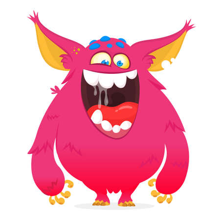 Happy cartoon monster. Vector Halloween pink furry monster