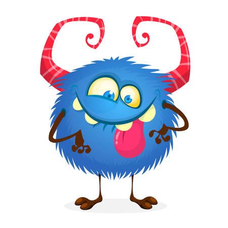 Mischievous cartoon monster character. Vector stock illustration