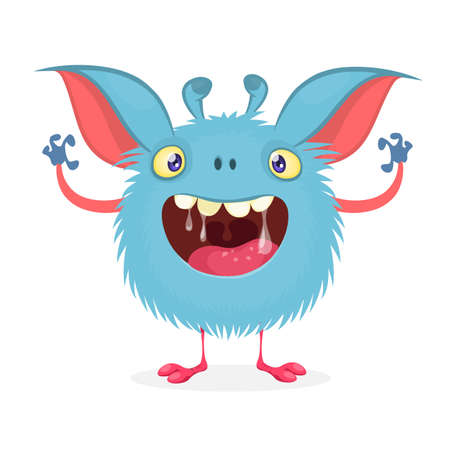 Cute cartoon monster with big smile full of saliva. Vector funny monster character