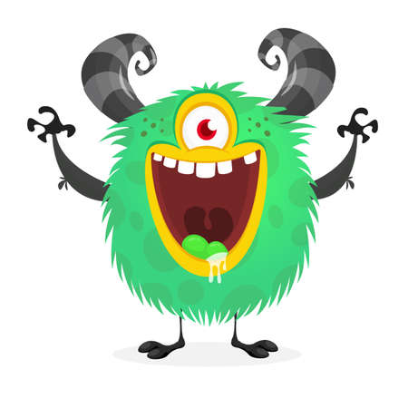 Cute cartoon monster with one eye. Vector funny monster character
