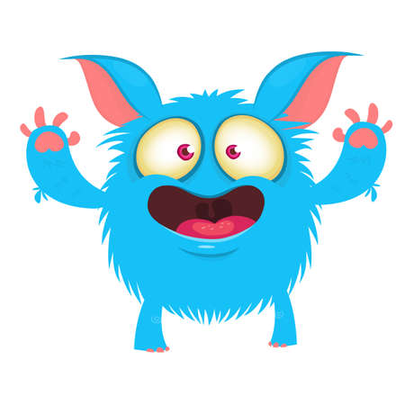 Cute cartoon monster. Vector funny monster character sticker