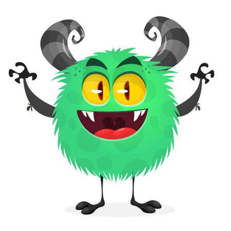 Happy cool cartoon fat monster. Green and horned vector monster character