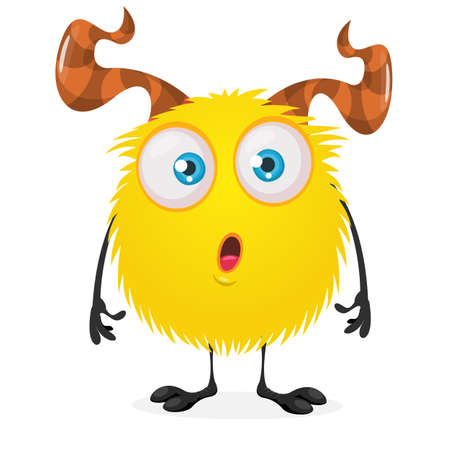 Cute cartoon monster. Vector funny surprised  monster character