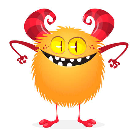 Cute cartoon monster. Vector funny excited monster character