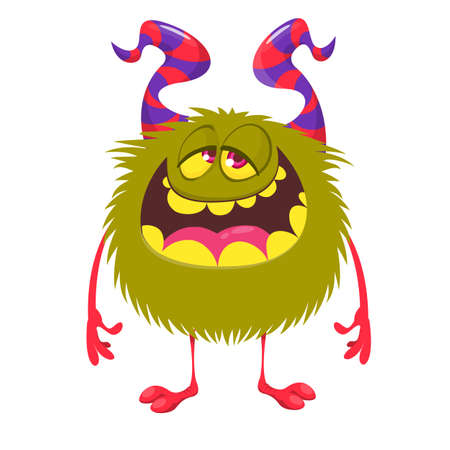 Happy cartoon monster. Vector Halloween green furry monster