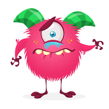 Cute cartoon crying sad  monster. Vector funny monster character