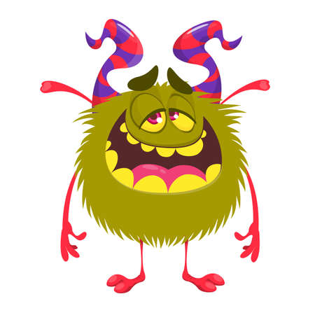 Happy cartoon monster. Vector Halloween pleased green furry monster
