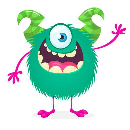 Happy cartoon monster. Vector Halloween one eyed furry monster