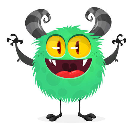 Angry cartoon monster. Halloween vector green and horned monster
