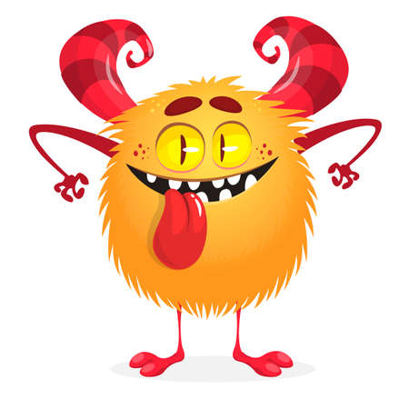 Cute cartoon monster showing tongue. Vector funny monster character