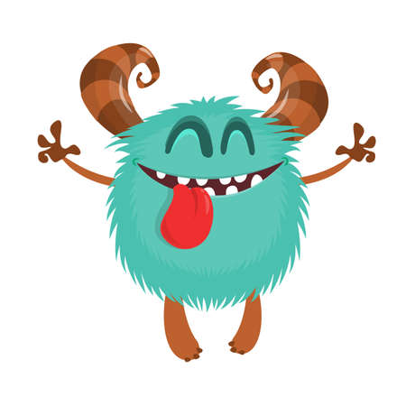 Cute cartoon monster. Vector funny monster character showing long tongue