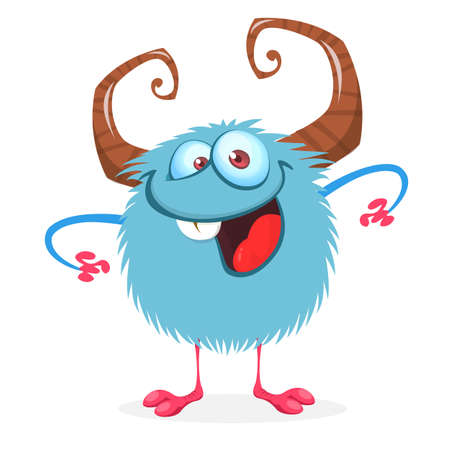 Happy cartoon monster. Vector Halloween blue excited monster