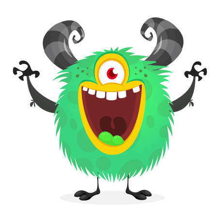 Funny cartoon alien with one eye. Vector illustration clipart 일러스트