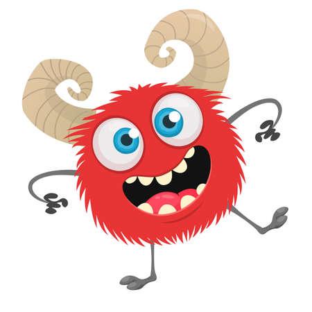 Dancing cartoon monster on tiny legs. Vector stock clipart