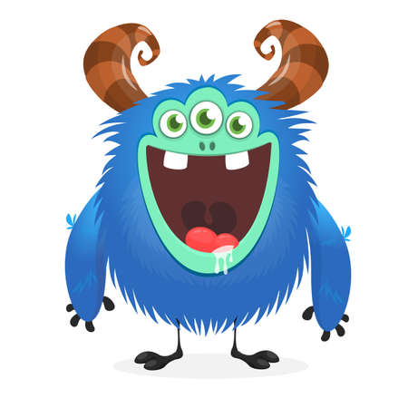 Excited cartoon monster with three eyes