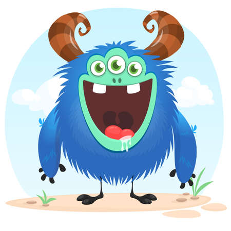 Funny three eyed cartoon monster isolated on nature background