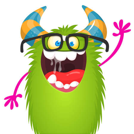 Fat and funny cartoon monster wearing eyeglasses