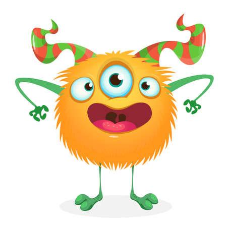 Funny cartoon monster with three eyes. Vector stock illustration 向量圖像