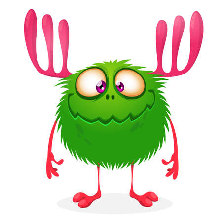 Funny cartoon monster with big horns. Vector stock illustration