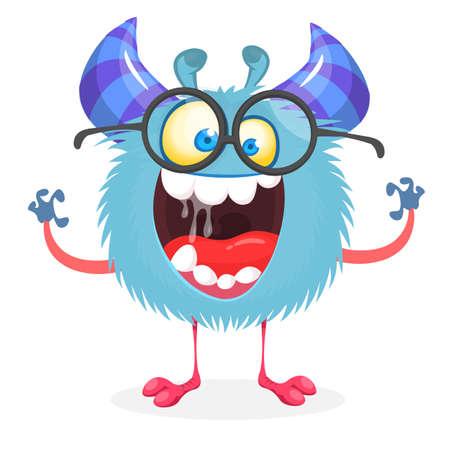 Funny happy cartoon monster wearing eyeglasses. Vector stock