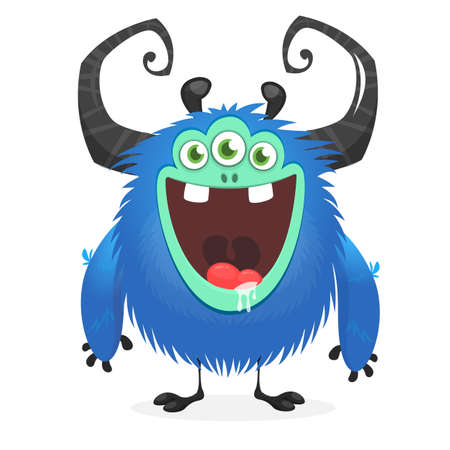 Funny cartoon monster with three eyes. Vector illustration
