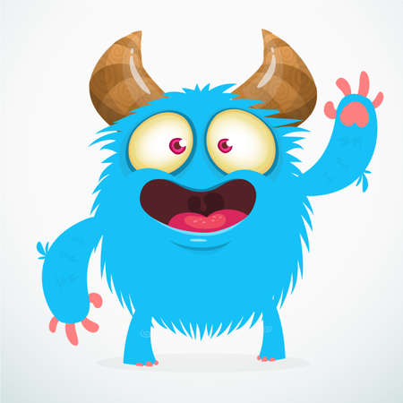 Happy and furry cartoon monster. Illustration for children book