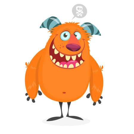 Funny fat orange monster for Halloween holiday