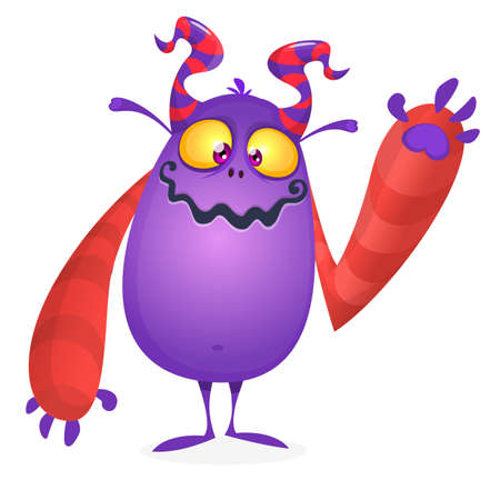 Happy cool cartoon fat monster. Horned vector monster character
