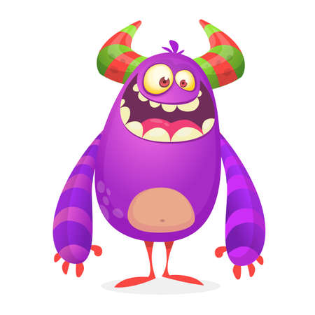 Vector cartoon of  fat and fluffy Halloween monster.Isolated Illustration