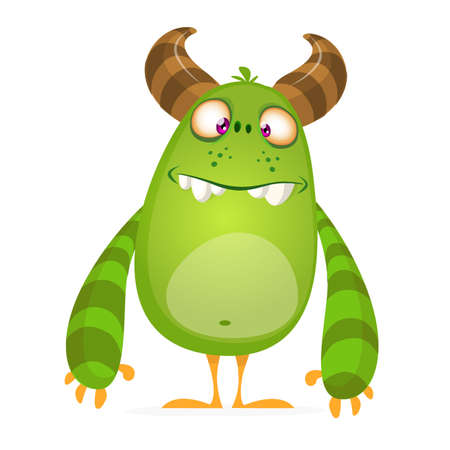 Angry cartoon monster. Vector illustration of green monster character for Halloween