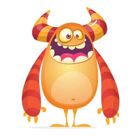 Angry cartoon monster. Vector illustration of orange monster character  for Halloween