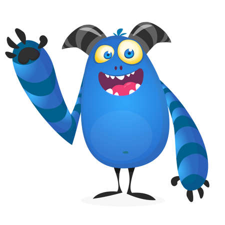Funny cool cartoon monster with big horns. Vector illustration Illustration