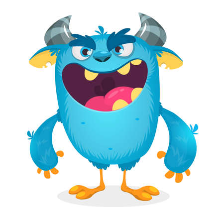 Vector cartoon of blue fat and fluffy Halloween monster. Isolated Illustration