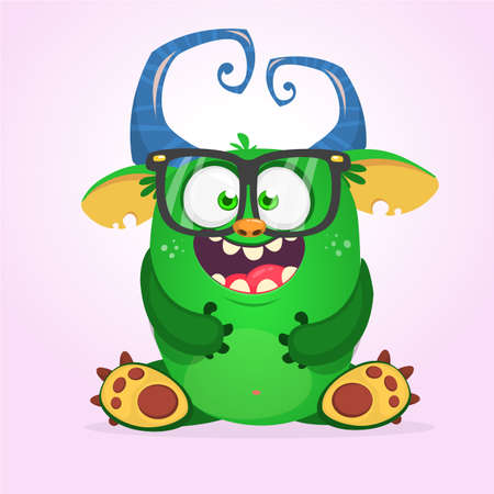 Happy horned monster singing. Halloween  vector illustration. Stock Illustratie