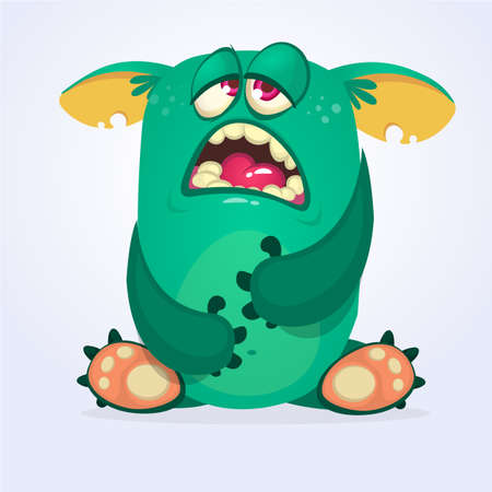 Cranky funny monster illustration 向量圖像