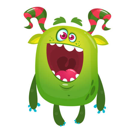 Cartoon funny monster. Halloween vector illustration of excited monster