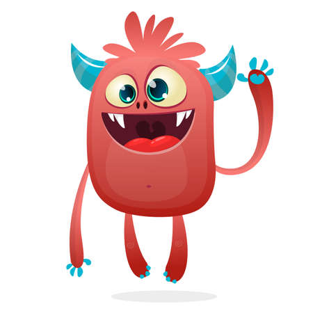 Cartoon illustration of funny devil character with horns. Vector