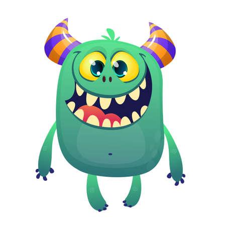 Cool cartoon blue monster smiling. Vector horned monster