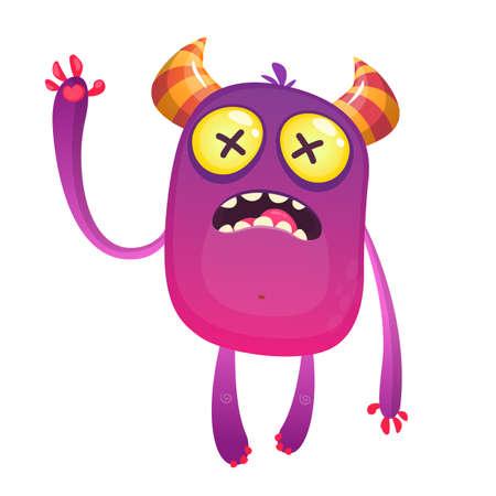 Scared cartoon pink monster waving. Vector cute monster mascot illustration for Halloween Ilustração