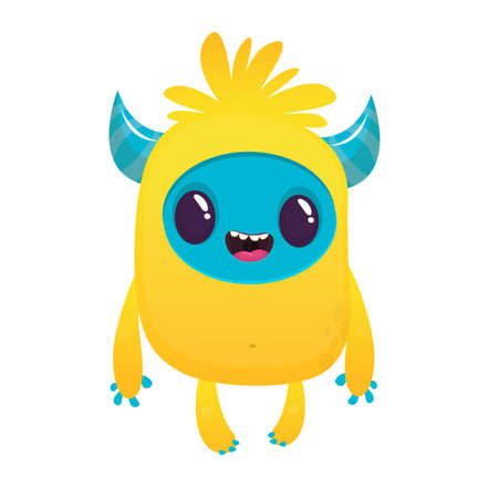 Cartoon excited monster character illustration Illustration