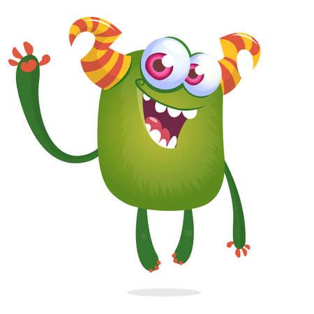 Funny cartoon alien with big eyes